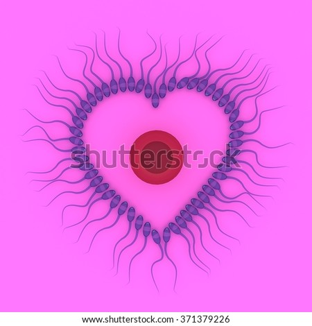 3d rendering of sperm with egg isolated on pink background, valentine concept - stock photo