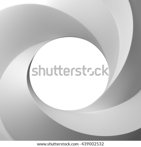 3D Rendering of Spiral frame and hole white color front view with copy space for text, isolated on white background.