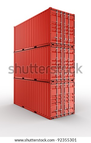 3d rendering of 3 stacked shipping containers - stock photo