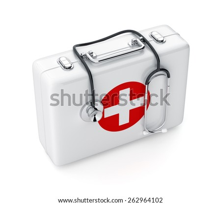 3d rendering of stethoscope and first aid kit isolated on white background - stock photo