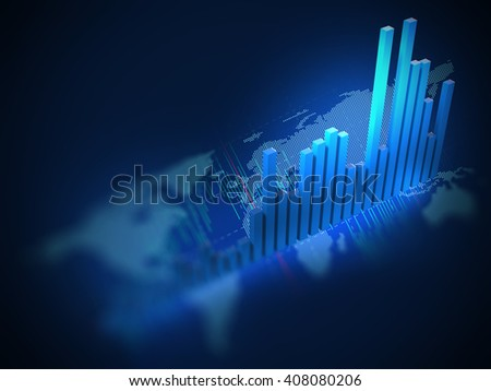 3d rendering of stock market chart on on digital world map  - stock photo