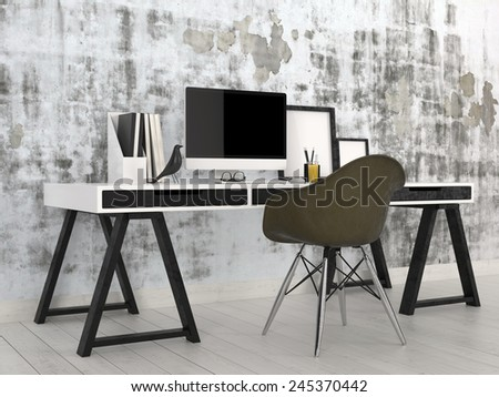 3D Rendering of Stylish modern black and white office interior with a trestle desk with desktop computer, files and photo frames against an abstract grey wall with a contemporary modular black chair - stock photo