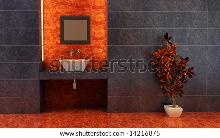 3d rendering of the Chinese bathroom - stock photo