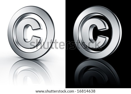 3d rendering of the copyright sign in brushed metal on a white and black reflective floor.