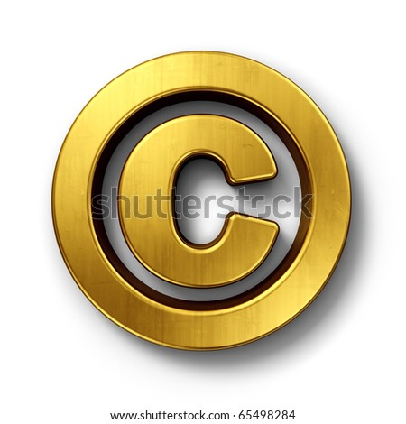 3d rendering of the copyright sign in gold on a white isolated background.