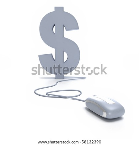 3D rendering of the Dollar symbol connected to a computer mouse - stock photo