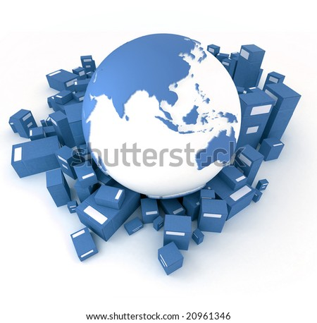3D rendering of the Earth ,Asia oriented, and a heap of cardboard boxes in blue shades