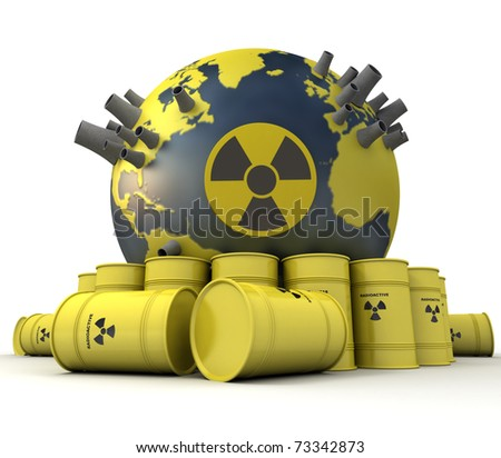 3D rendering of the Earth with nuclear power stations surrounded by barrels of nuclear waste - stock photo