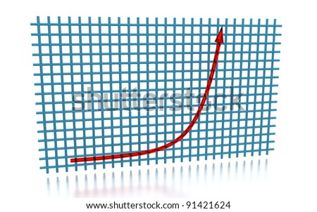 3D rendering of the exponential growth curve - stock photo