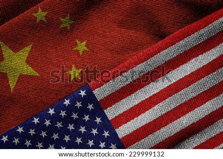 3D rendering of the flags of China and USA on woven fabric texture. Detailed textile pattern and grunge theme. - stock photo