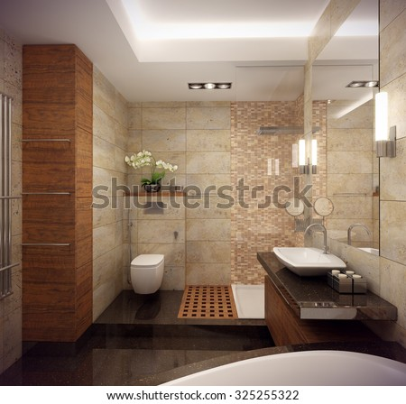 3D Rendering Of The Interior Bathroom In A Contemporary Style Using Natural Materials