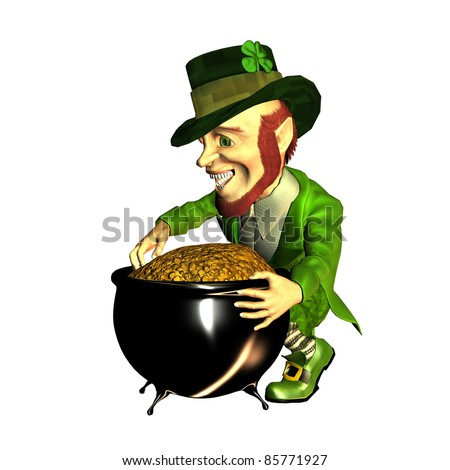 3d rendering of the Irish myth leprechaun with gold treasure as illustration