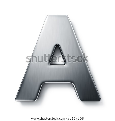 3d rendering of the letter A in brushed metal on a white isolated background. - stock photo