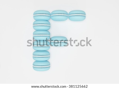3d rendering of the letter F in Macaron Style on a white isolated background.