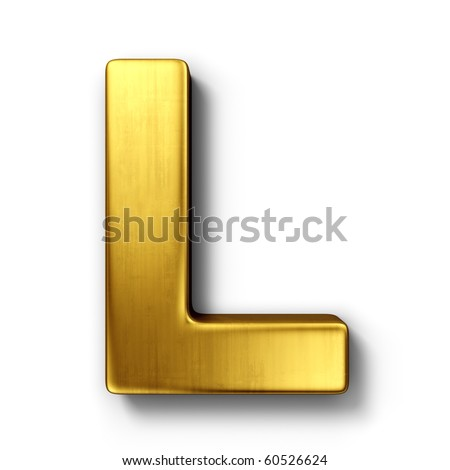 3d rendering of the letter L in gold metal on a white isolated background.