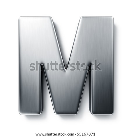3d rendering of the letter M in brushed metal on a white isolated background. - stock photo