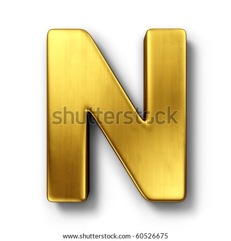 3d rendering of the letter n in gold metal on a white isolated background