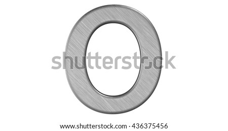 3d rendering of the letter O in brushed metal on a white isolated background