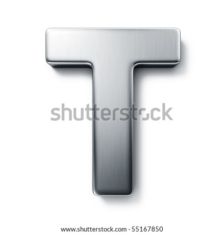3d rendering of the letter T in brushed metal on a white isolated background. - stock photo