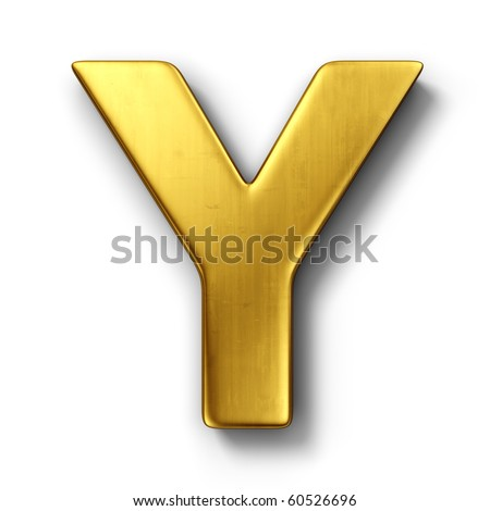 3d rendering of the letter Y in gold metal on a white isolated background. - stock photo