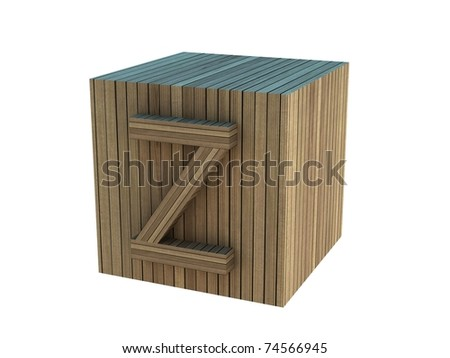 3d rendering of the letter Z in wooden on a white isolated background.