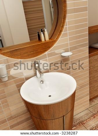 3d rendering of the modern bathroom interior - stock photo