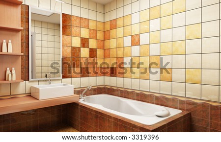 3d rendering of the modern bathroom with tiles - stock photo