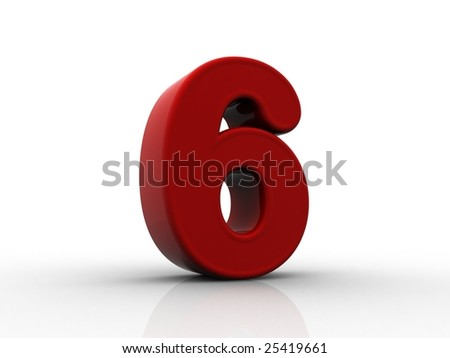 3d rendering of the number 6