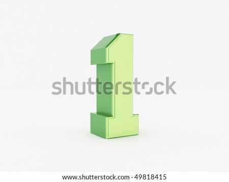 3d rendering of the number 1