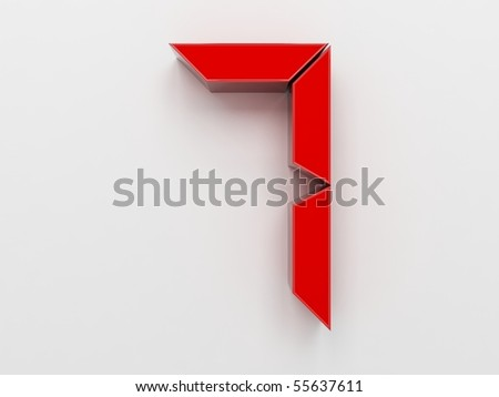 3D rendering of the number 7 - stock photo
