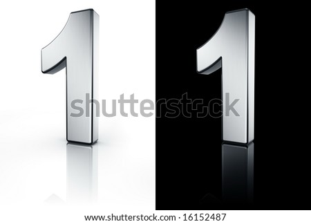 3d rendering of the number 1 in brushed metal on a white and black reflective floor. - stock photo