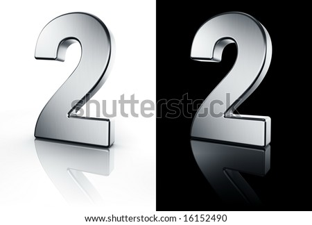 3d rendering of the number 2 in brushed metal on a white and black reflective floor. - stock photo