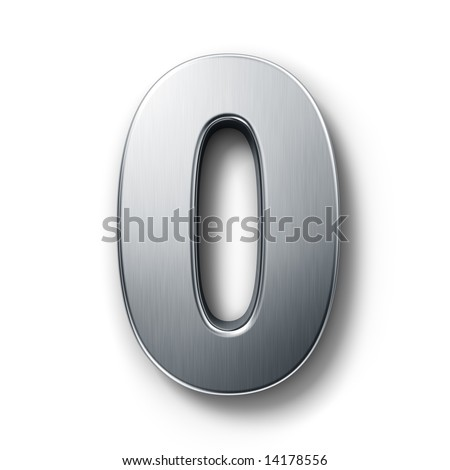 3d rendering of the number 0 in brushed metal on a white isolated background. - stock photo