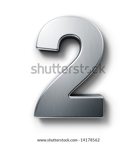 3d rendering of the number 2 in brushed metal on a white isolated background. - stock photo