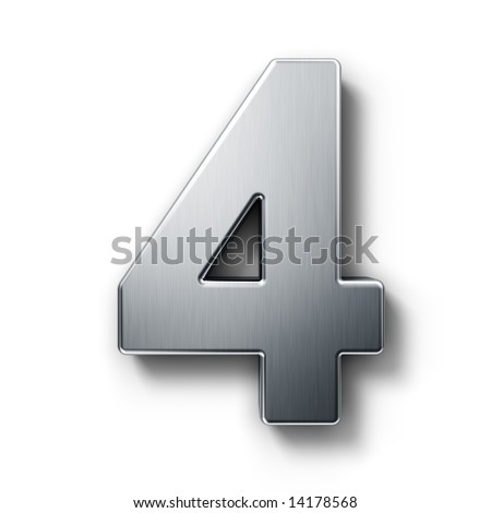 3d rendering of the number 4 in brushed metal on a white isolated background. - stock photo