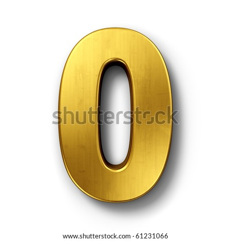3d rendering of the number 0 in gold metal on a white isolated background. - stock photo