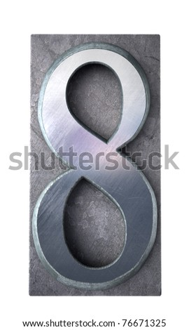 3D rendering of the number 8 in typescript print letter cases (part of a matching alphabet) - stock photo