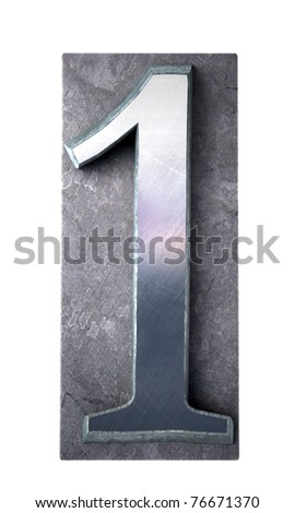 3D rendering of the number 1 in typescript print letter cases(part of a matching alphabet) - stock photo