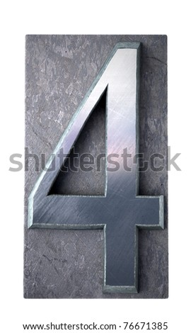3D rendering of the number 4 in typescript print letter cases(part of a matching alphabet)