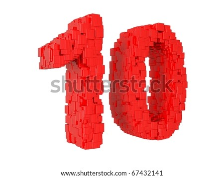 3d rendering of the number 10 made from cubes