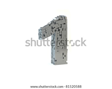 3d rendering of the number 1 made up of metal cubes on a white isolated background - stock photo