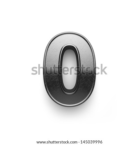 3d rendering of the number 0 scratched metal - stock photo