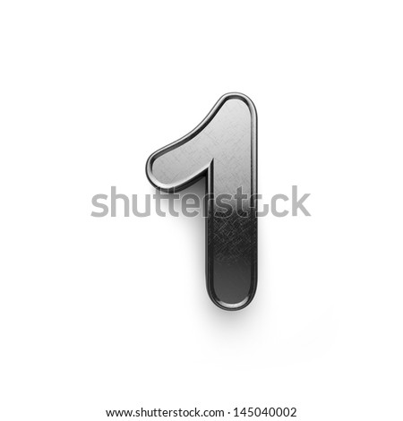 3d rendering of the number 1 scratched metal - stock photo