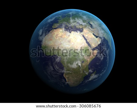 3D rendering of the planet Earth on a starry background, high resolutio