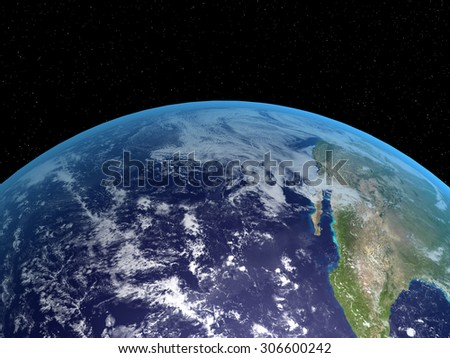 3D rendering of the planet Earth on a starry background, high resolution - stock photo