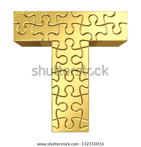 3d rendering of the puzzle letter T in gold metal on a white isolated background. - stock photo