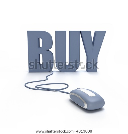 3D rendering of the word Buy connected to a mouse