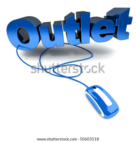 3D rendering of the word outlet connected to a computer mouse