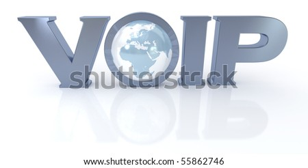 3D rendering of the word VOIP and the Earth in metal and blue