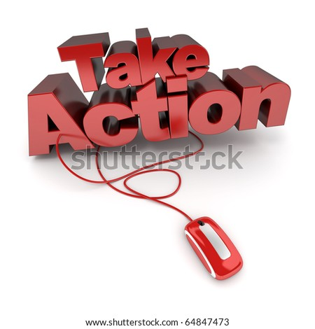 3D rendering of the words take action connected to a computer mouse - stock photo